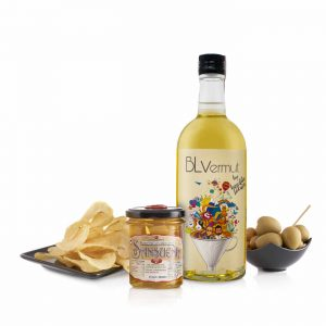 pack BL vermut blanco aceitunas queso y patatas